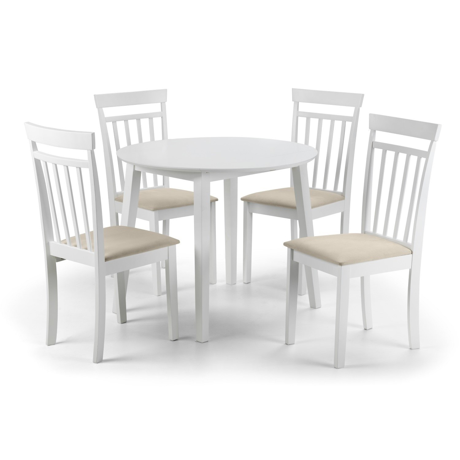 Julian Bowen Coast White Dining Set With Round Table 4 Chairs Furniture123