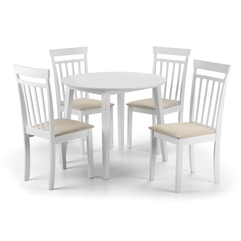 Julian Bowen Coast White Dining Set with Round Table & 4 Cha