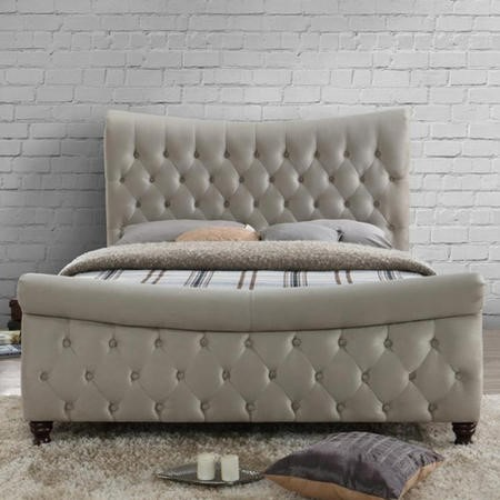 Birlea Copenhagen Super Kingsize Bed Upholstered in Stone