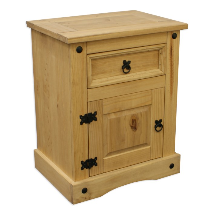 Corona mexican wooden bedside table with draws in solid for Furniture 123