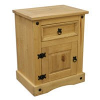 Corona Mexican 1 Door 1 Drawer Bedside Table in Solid Pine