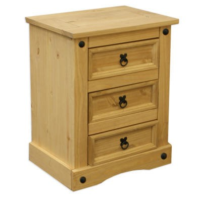 COR002 Corona Mexican 3 Drawer Bedside Table In Solid Pine
