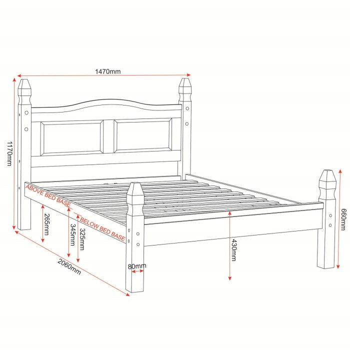 Corona Mexican 4ft6in Double Bed in Solid Pine | Furniture123