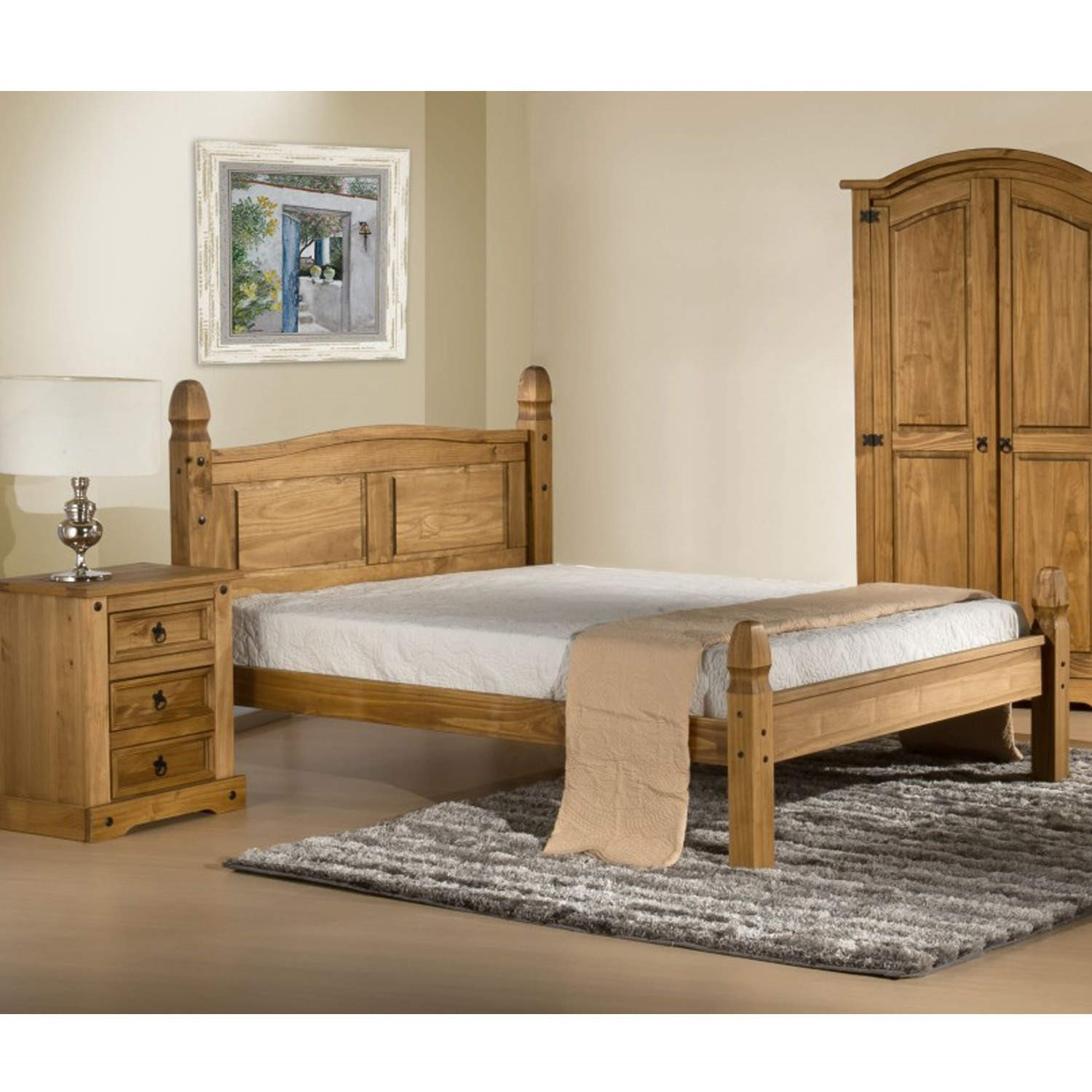 Corona Mexican 4ft6in Double Bed in Solid PineFurniture123