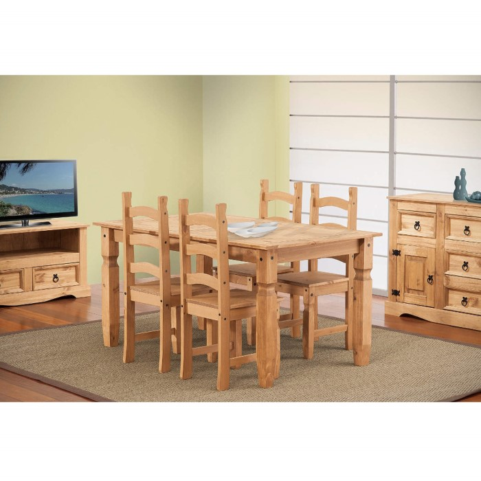 Corona solid pine medium 4 seater dining table 5ft for Furniture 123 corona