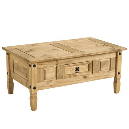 Corona solid pine 1 drawer coffee table furniture123 Pine coffee table with drawers