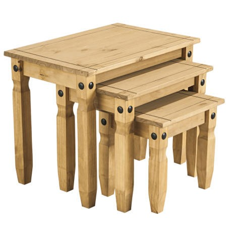Corona solid pine nest of 3 tables furniture123 for Furniture 123 corona