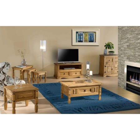 Corona Solid Pine 2 Drawer Flat Screen TV Unit