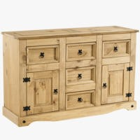 Corona Solid Pine 2 Door 5 Drawer Sideboard