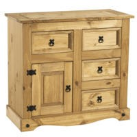 Corona Solid Pine 1 Door 4 Drawer Sideboard