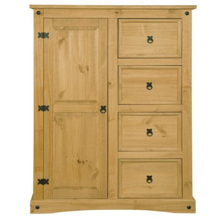 GRADE A1 - Corona Mexican 1 Door 4 Drawer Short Wardrobe in Solid Pine