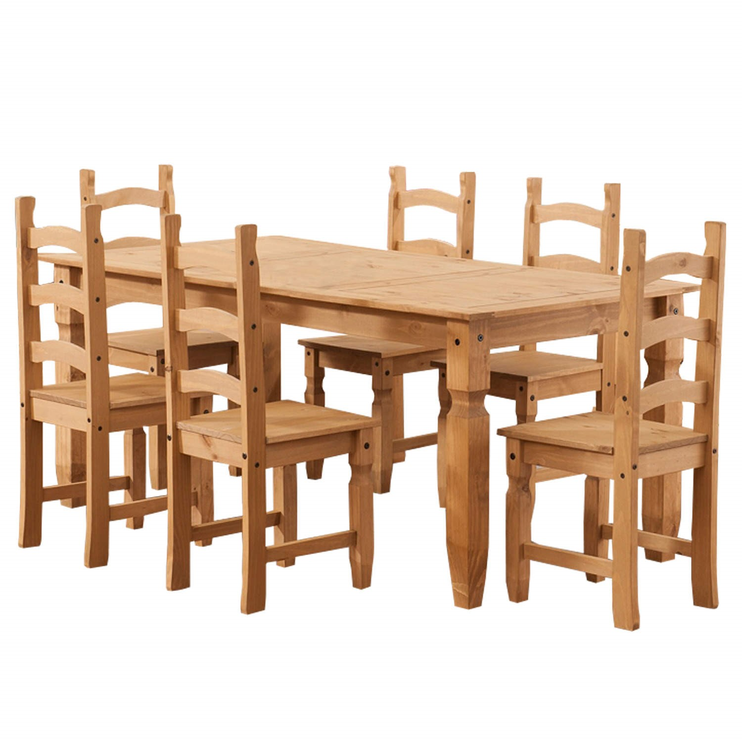 Corona Solid Pine Dining Set with 9 Chairs