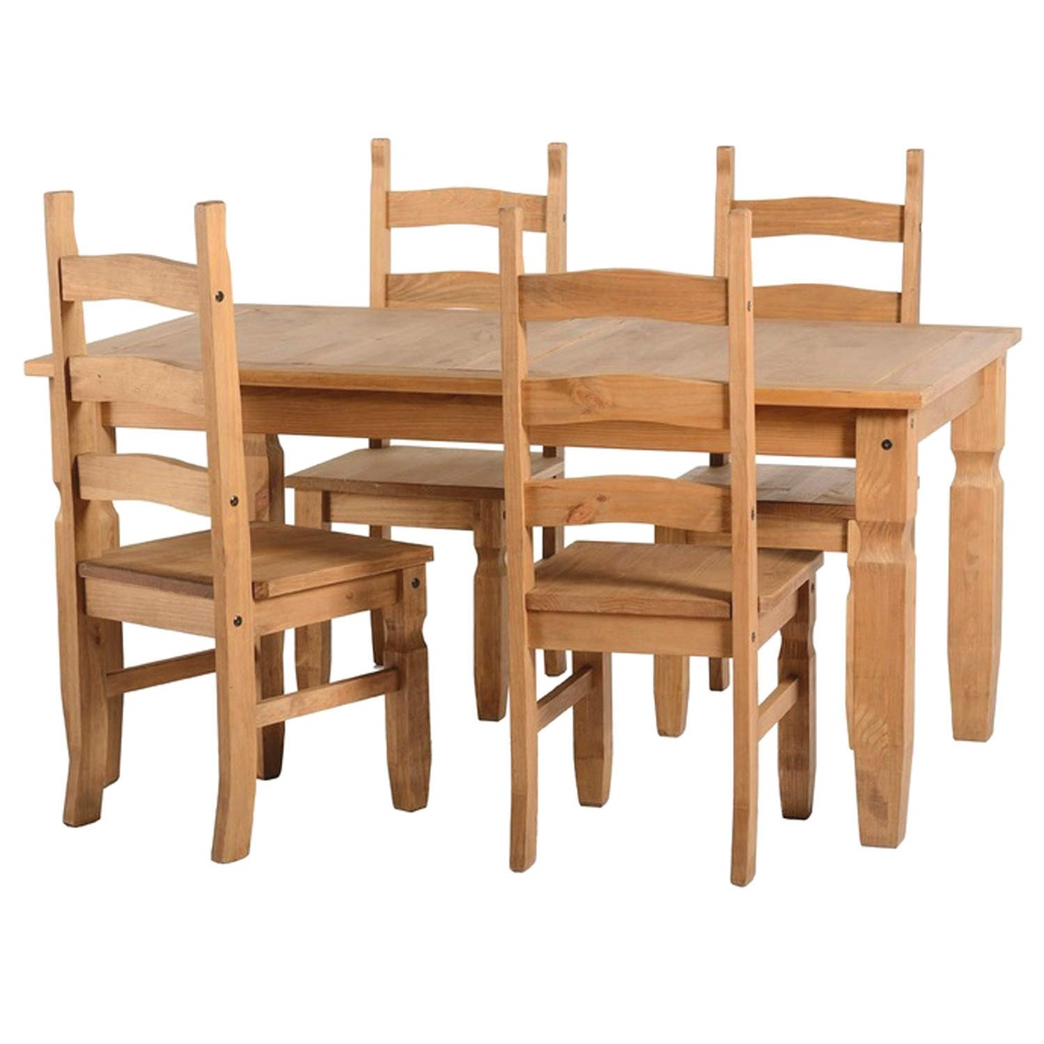 Corona Solid Pine Dining Set With 4 Chairs