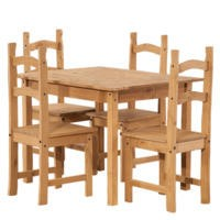 Corona Solid Pine Small Dining Set with 4 Chairs