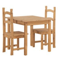 Corona Solid Pine Square Dining Set with 2 Chairs