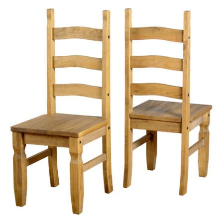 GRADE A1 - Corona Solid Pine Pair of Dining Chairs