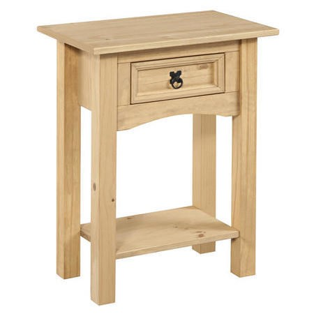Corona solid pine 1 drawer console table with shelf for Furniture 123 corona