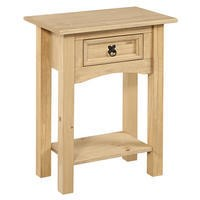 Corona Solid Pine 1 Drawer Console Table with Shelf