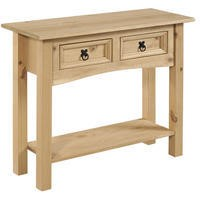 Corona Solid Pine 2 Drawer Console Table with Shelf