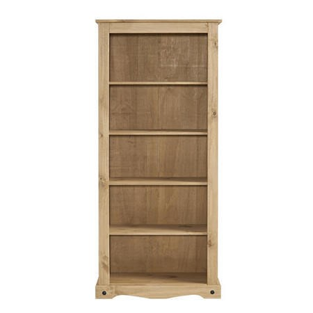 Corona Solid Pine Bookcase - 6ft Tall Bookshelf with 5 Shelves