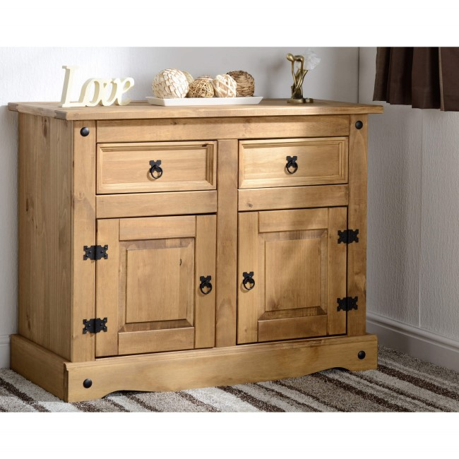 Seconique Corona Pine Sideboard with 2 Doors & 2 Drawers with Black Handles