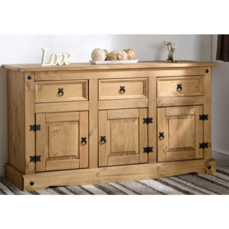Seconique Corona Pine Sideboard with 3 Doors &  3 Drawers with Black Handles