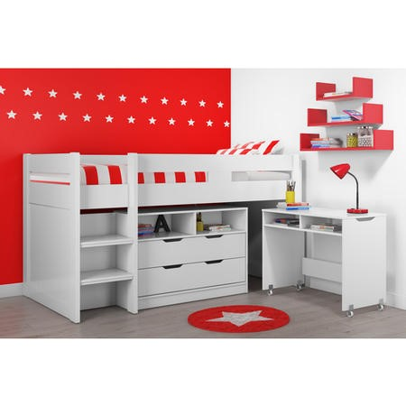 Cosmo Mid Sleeper Bed in White with Pull Out Desk