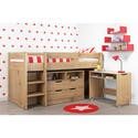 COS002 Cosmo Mid Sleeper Bed in Oak with Pull Out Desk