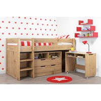 Cosmo Mid Sleeper Bed in Oak with Pull Out Desk