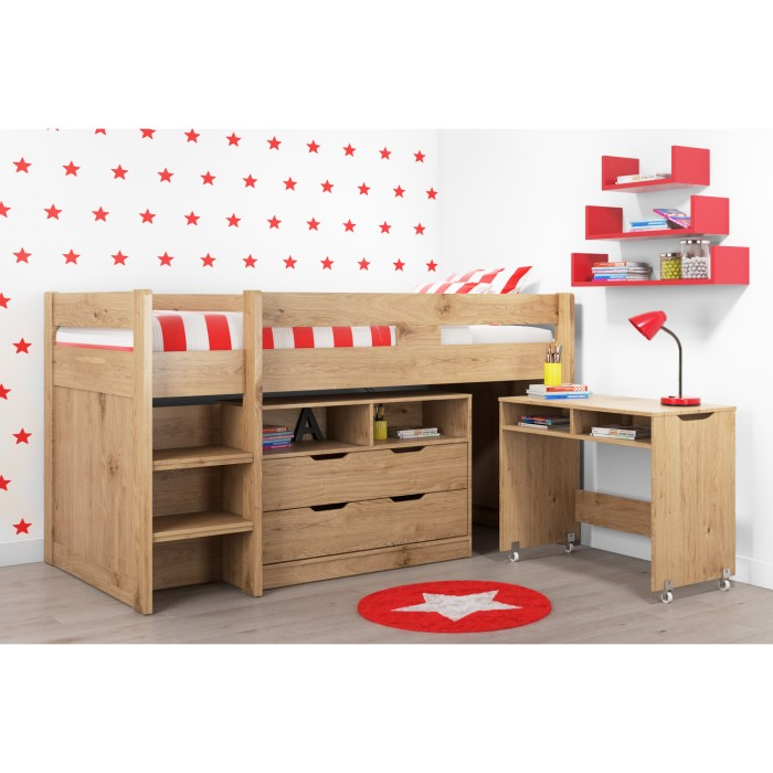 Cosmo Mid Sleeper Bed In Oak With Pull Out Desk Furniture123