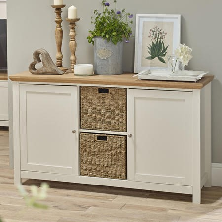 Cream & Oak Sideboard with Storage Cupboards & Baskets - LPD Cotswold
