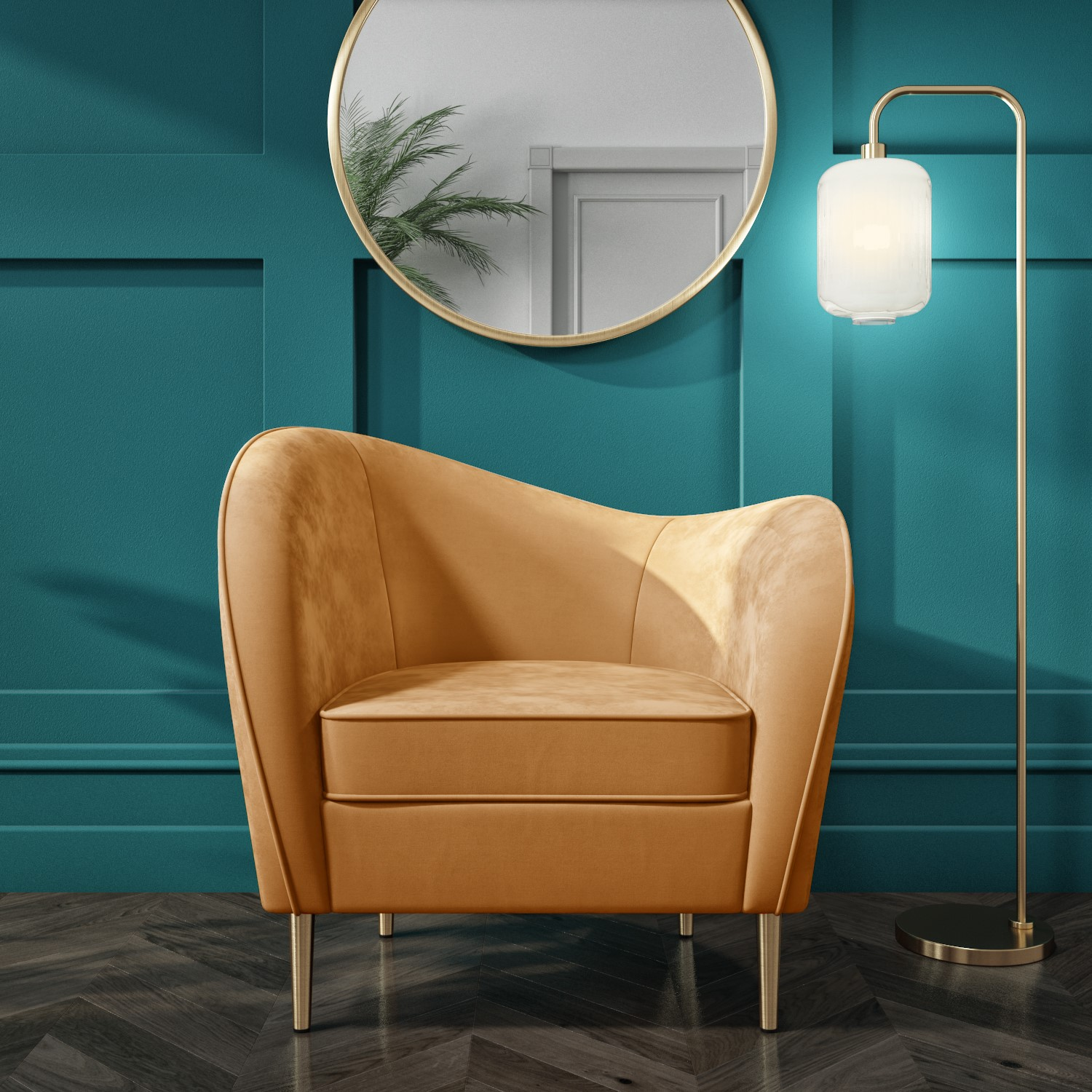 Picture of: Yellow Velvet Armchair With Scooped Back And Gold Legs Cara Furniture123