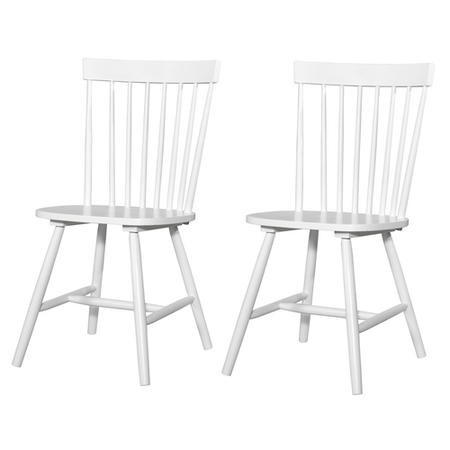 Carolina White Spindled Back Solid Wood Pair of Dining Chairs