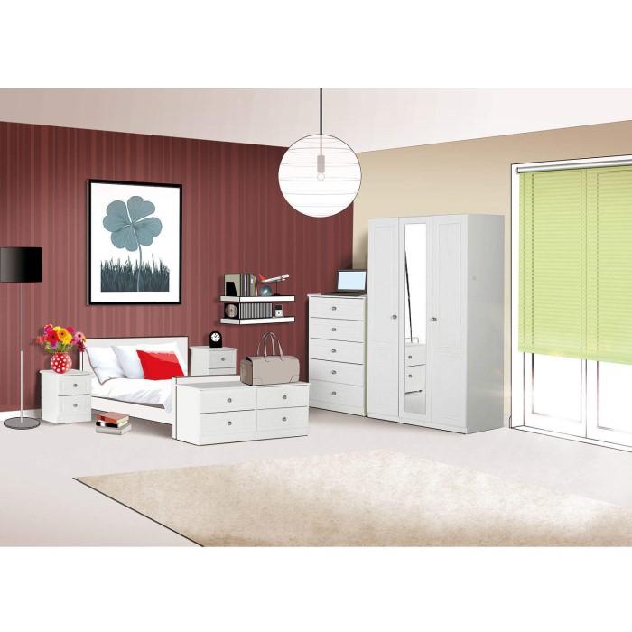 One Call Furniture Calando Single Wardrobe In Pearl White