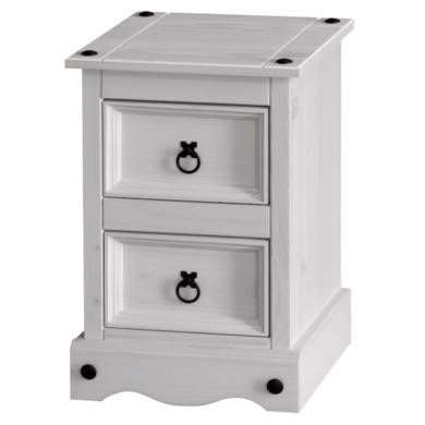 Corona 2 Drawer Petite Bedside Cabinet in Whitewash