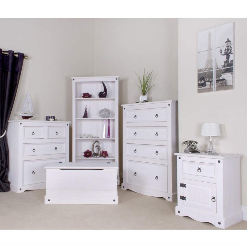 Corona 1 Door 1 Drawer Bedside Cabinet In Whitewash