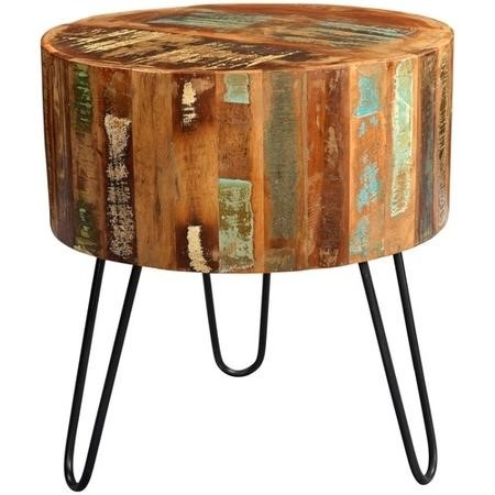 Coastal Reclaimed Wood Vintage Drum Side Table with Hairpin Legs