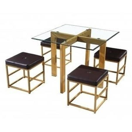 LPD Glass dining set  cube with dark brown faux leather seat pads