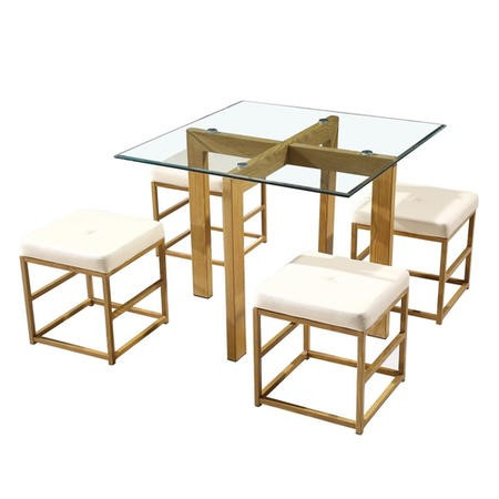 LPD Glass cube dining set with cream faux leather seat pads