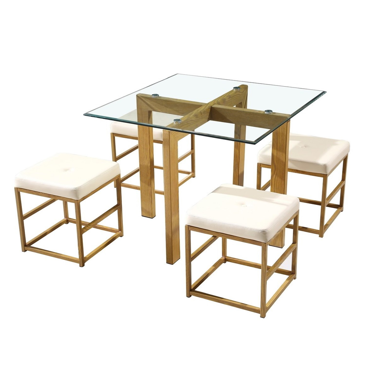 Outstanding Lpd Glass Cube Dining Set With Cream Faux Leather Seat Pads Creativecarmelina Interior Chair Design Creativecarmelinacom