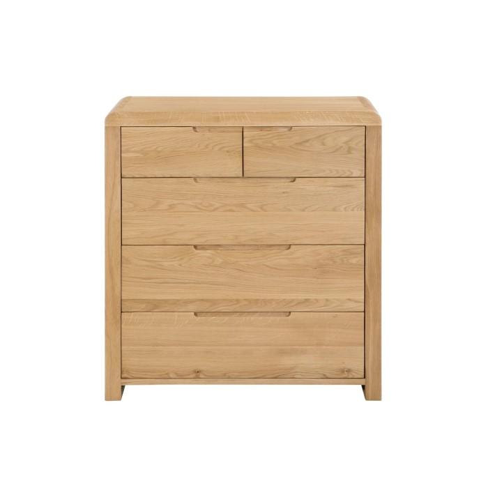 Julian Bowen Curve Oak 3+2 Drawer Chest of Drawers | Furniture123