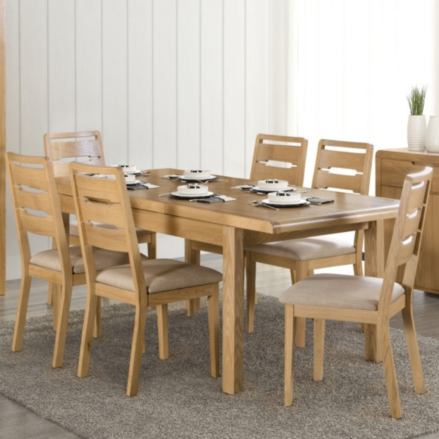 oak dining table and 9 chairs