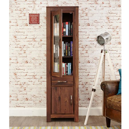 Baumhaus Mayan Solid Walnut Narrow Glazed Bookcase