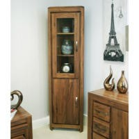 Baumhaus Mayan Glazed Corner Display Cabinet in brown