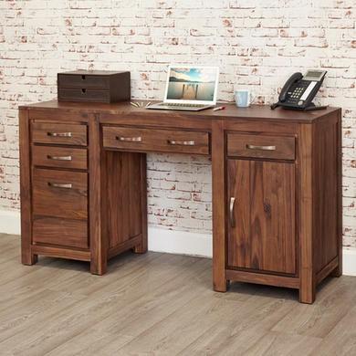 Baumhaus Mayan Solid Walnut Twin Pedestal Computer Desk