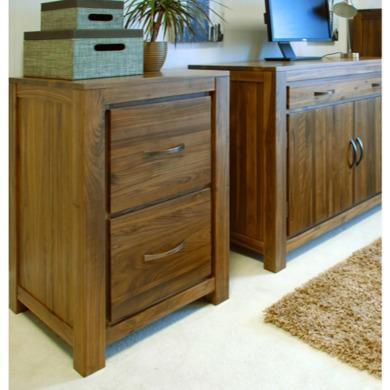 Baumhaus Mayan Two Drawer Filing Cabinet in brown