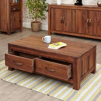 Baumhaus Mayan Low Four Drawer Coffee Table in brown