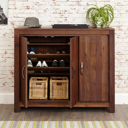 Baumhaus Mayan Solid Walnut Extra Large Shoe Storage Cupboard - 20 Pairs