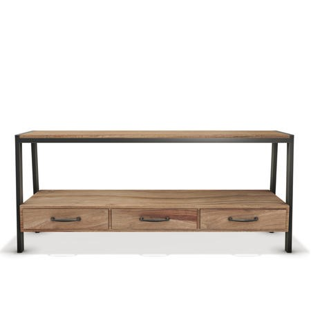 "Solid Wood & Metal TV Unit with Storage - TV's up to 55"" - Cyra"