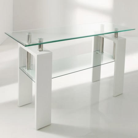 Vida Living Calico White High Gloss and Glass Console Table